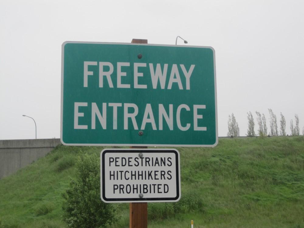 Freeway entrance pedestrians prohibited