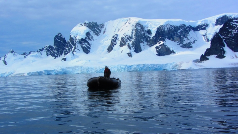A dingy in Antarctica