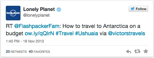 Retweet from Lonely Planet