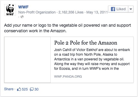 Facebook share by WWF