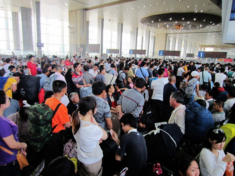 China train station queue