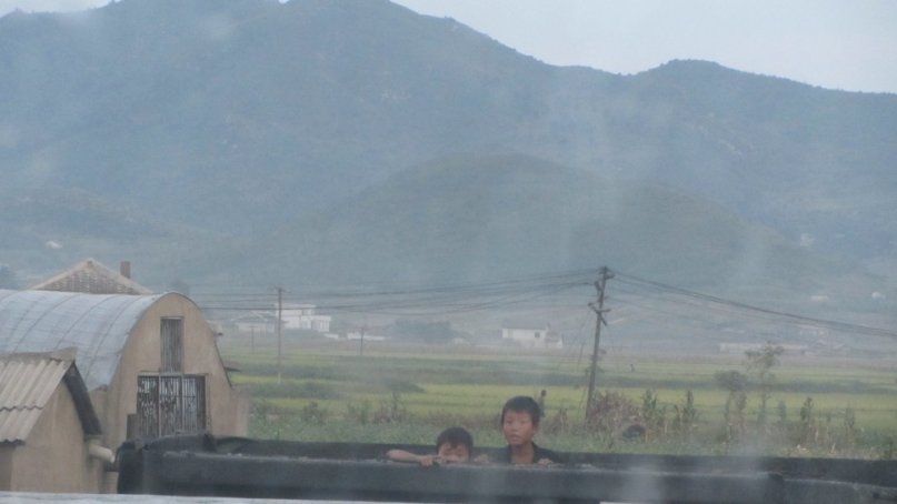 North Korean kids playing hide and seek