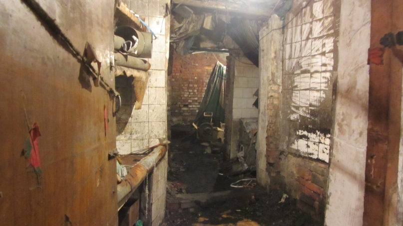 Burned out kitchen in Dandong