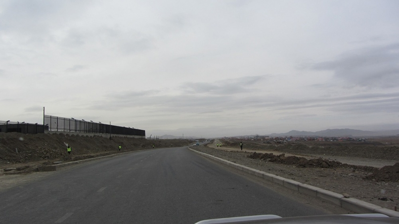 Policemen next to the road mongolia