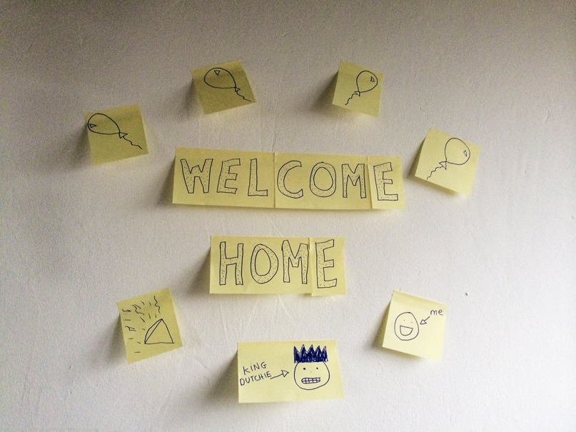 Welcome home post-its