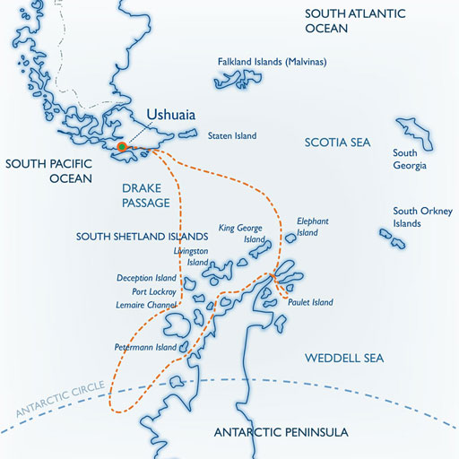 Ushuaia to Antarctic circle