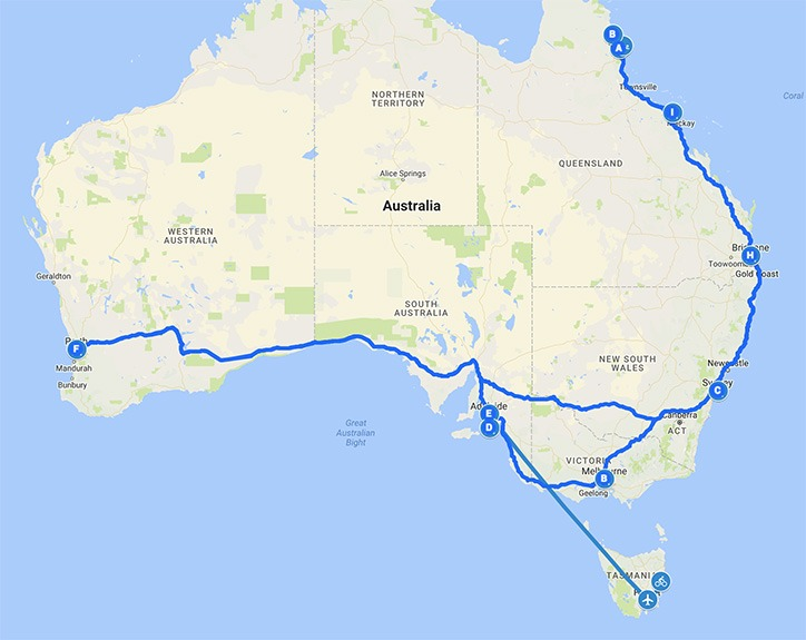 Australia destinations map