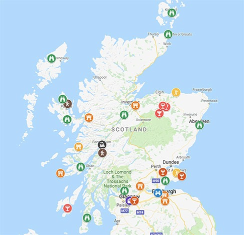 Map of places to visit in Scotland