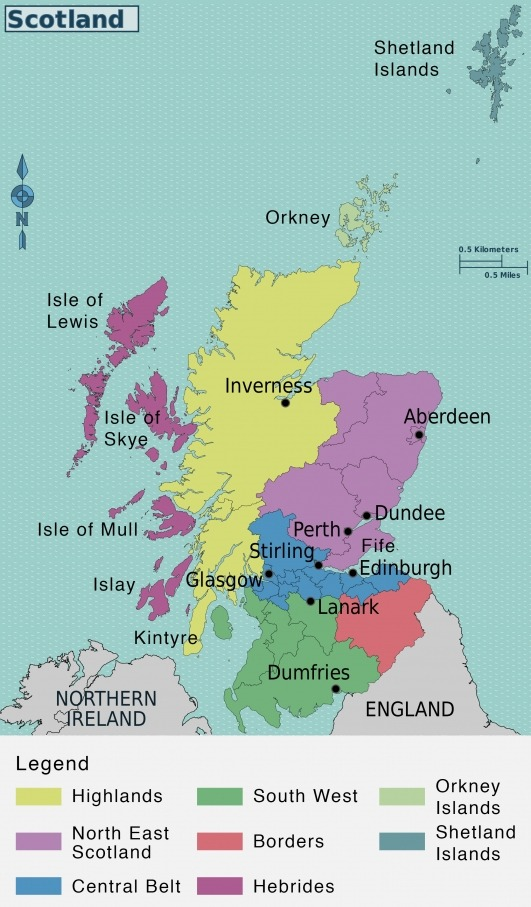 Regions of Scotland map